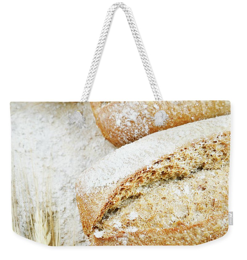 Breakfast Weekender Tote Bag featuring the photograph Bread by Cactusoup