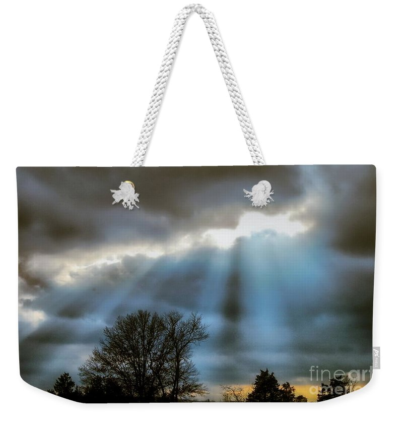 Weekender Tote Bag featuring the photograph Break In The Storm by Peggy Franz