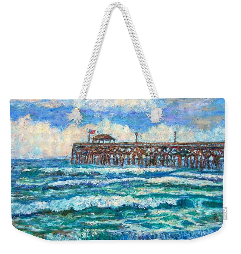 Shore Scenes Weekender Tote Bag featuring the painting Breakers At Pawleys Island by Kendall Kessler