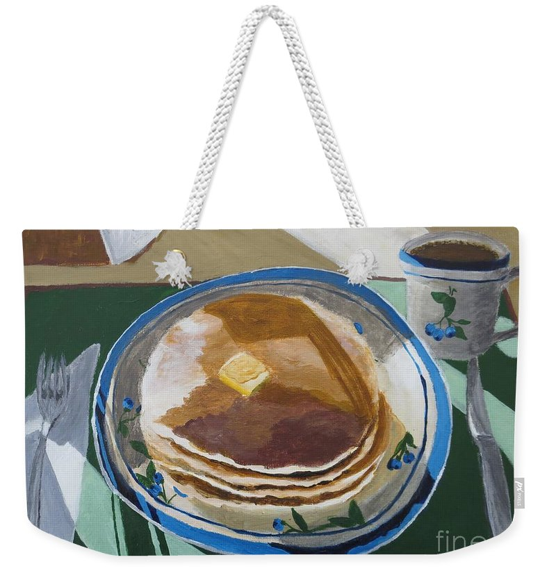 Pancakes Weekender Tote Bag featuring the painting Breakfast Is Served by CE Dill