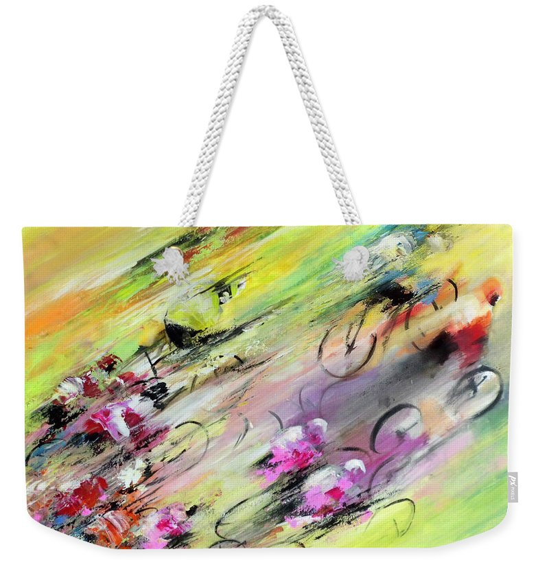 Sports Weekender Tote Bag featuring the painting Breaking Away by Miki De Goodaboom