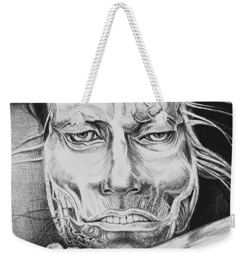 Lithograph Weekender Tote Bag featuring the drawing Breaking Out by Yvonne Wright