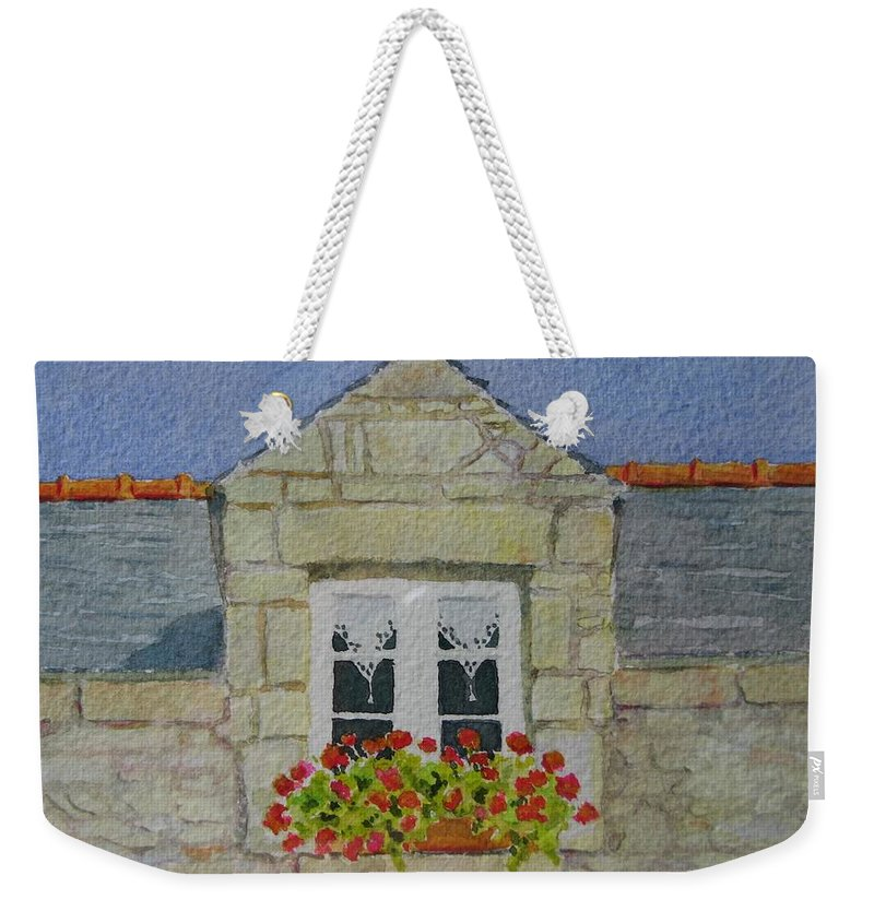 France Weekender Tote Bag featuring the painting Bretagne Window by Mary Ellen Mueller Legault