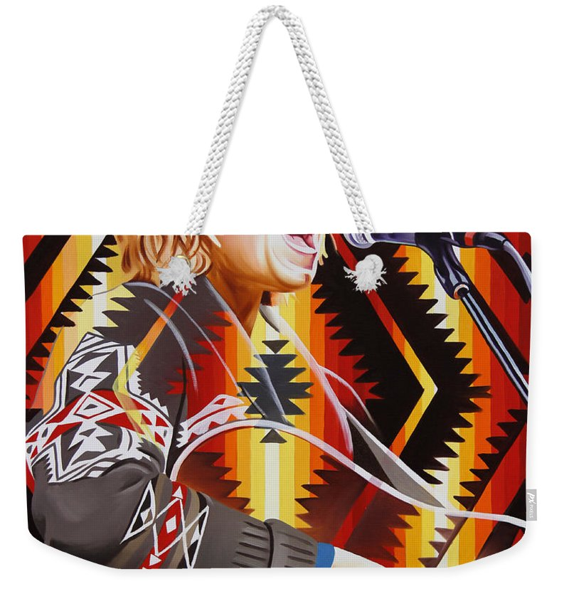 Brett Dennen Weekender Tote Bag featuring the painting Brett Dennen by Joshua Morton