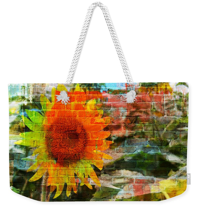 Sunflowers Weekender Tote Bag featuring the photograph Bricks And Sunflowers by Alice Gipson