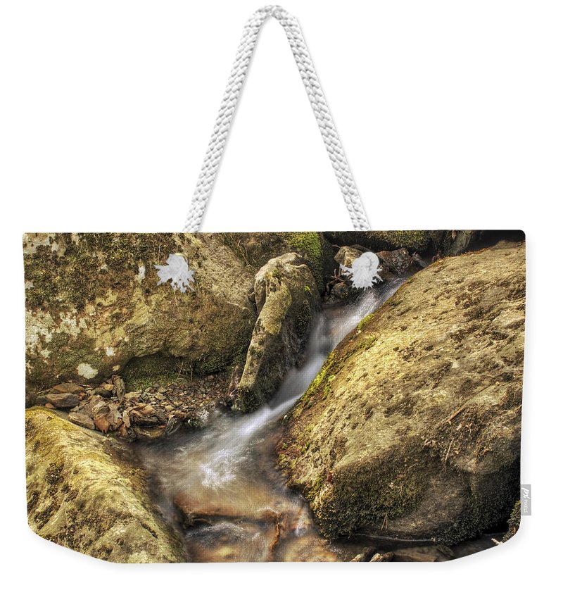 Bridal Veil Falls Weekender Tote Bag featuring the photograph Bridal Veil Stream And Mossy Rocks - Heber Springs Arkansas by Jason Politte