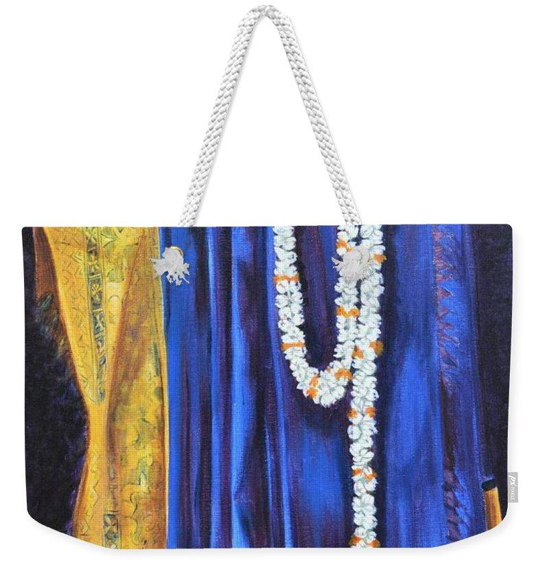 Bridal Weekender Tote Bag featuring the painting Bridal Wear by Usha Shantharam