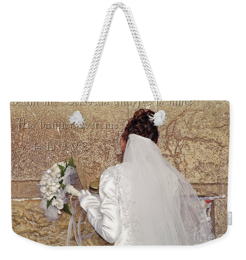 Bride Weekender Tote Bag featuring the digital art Bride At The Wall by Constance Woods