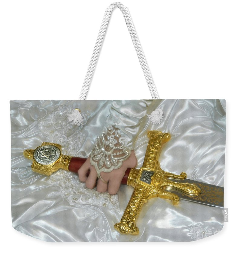 Bride Of Christ Art Weekender Tote Bag featuring the photograph Sword In Hand by Constance Woods
