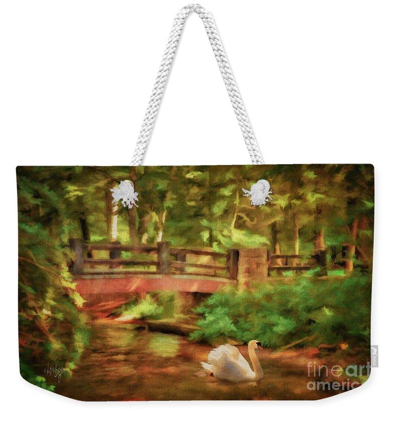 Bridge Weekender Tote Bag featuring the digital art Bridge And Swan by Lois Bryan