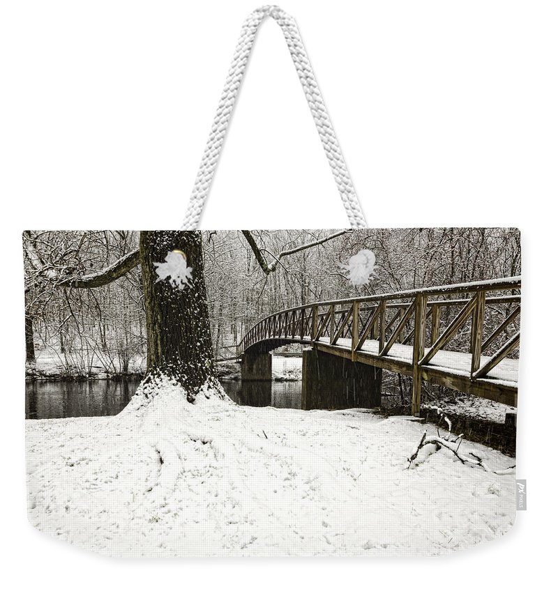 Bridge Weekender Tote Bag featuring the photograph Bridge At Old Mine Park by Fran Gallogly