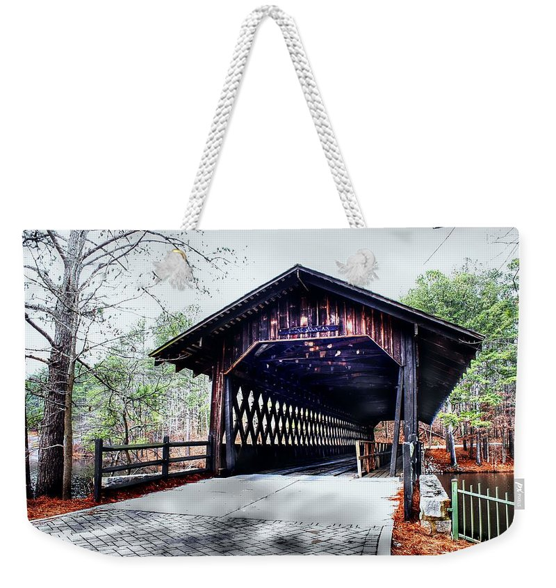 Old Bridge Weekender Tote Bag featuring the photograph Bridge At Stone Mountain by Debra Forand