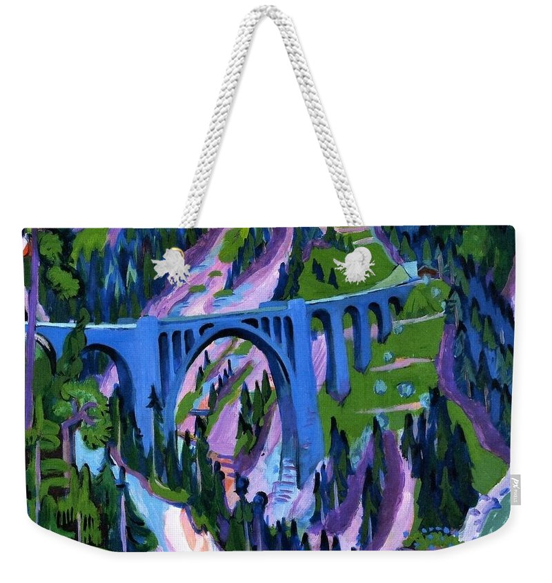 1926 Weekender Tote Bag featuring the painting Bridge At Wiesen by Ernst Ludwig Kirchner