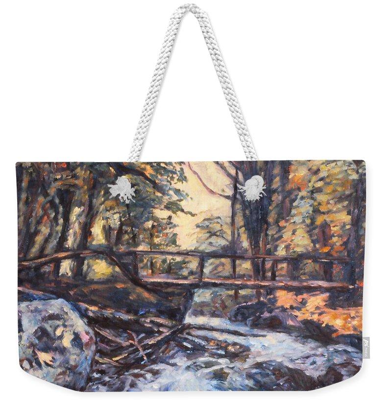 Creek Weekender Tote Bag featuring the painting Morning Bridge In Woods by Kendall Kessler
