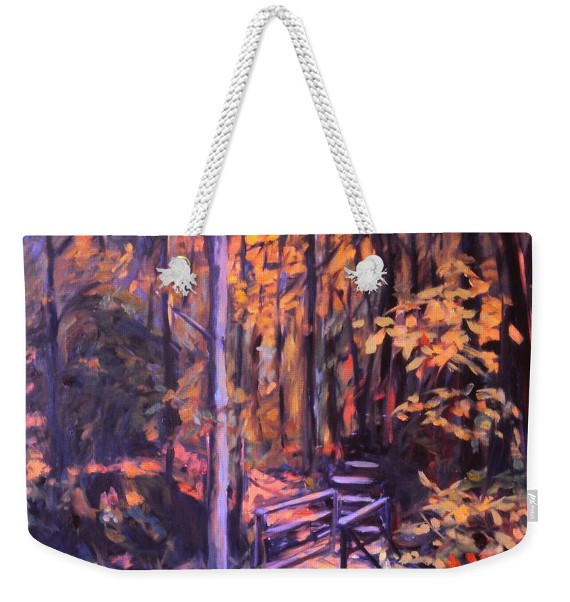 Woods Weekender Tote Bag featuring the painting Bridge In Woods Near Pandapas by Kendall Kessler