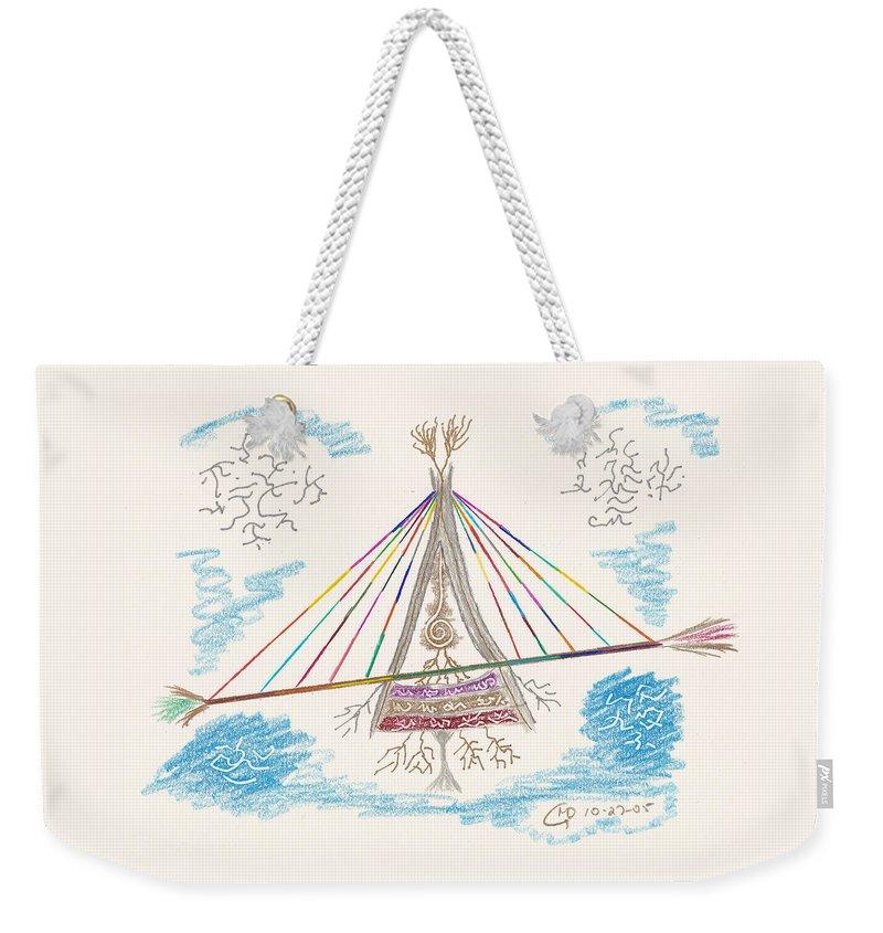 Bridge Weekender Tote Bag featuring the drawing Bridge Of Light by Mark David Gerson