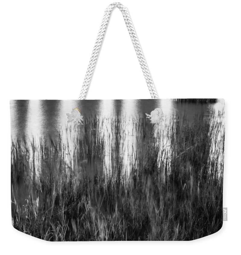 Bridge Of Lions Weekender Tote Bag featuring the photograph Bridge Of Lions Reflections St Augustine Florida Painted Bw  by Rich Franco