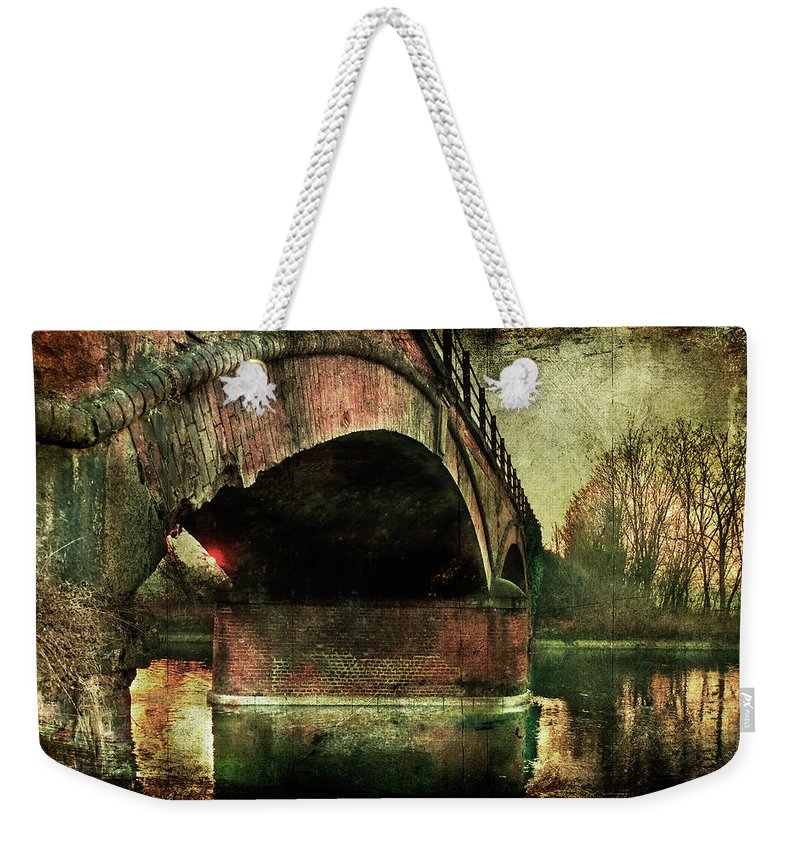 Albairate Weekender Tote Bag featuring the photograph Bridge Over The Canal by Roberto Pagani