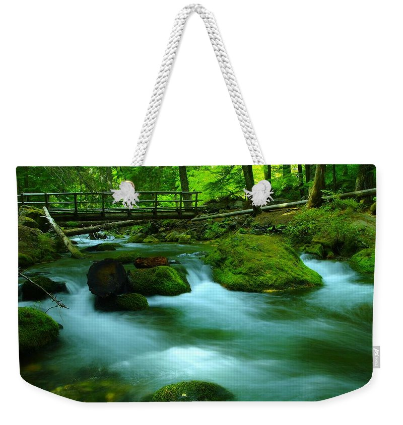 Water. Rivers Weekender Tote Bag featuring the photograph Bridge Over The Tananamawas by Jeff Swan