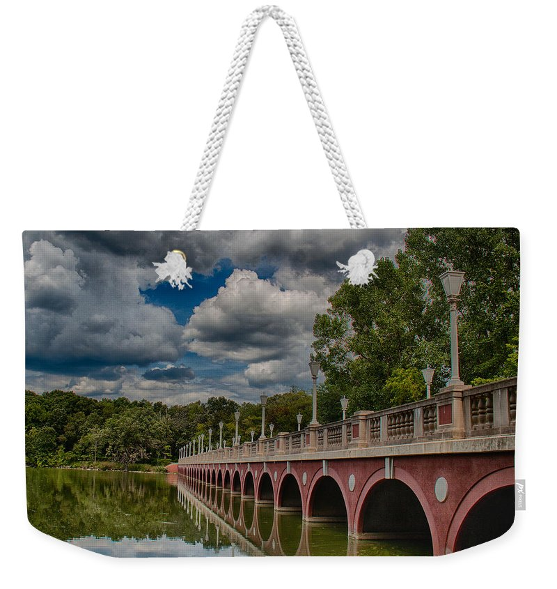 Bridge Weekender Tote Bag featuring the photograph Bridge Reflections by Mike Burgquist