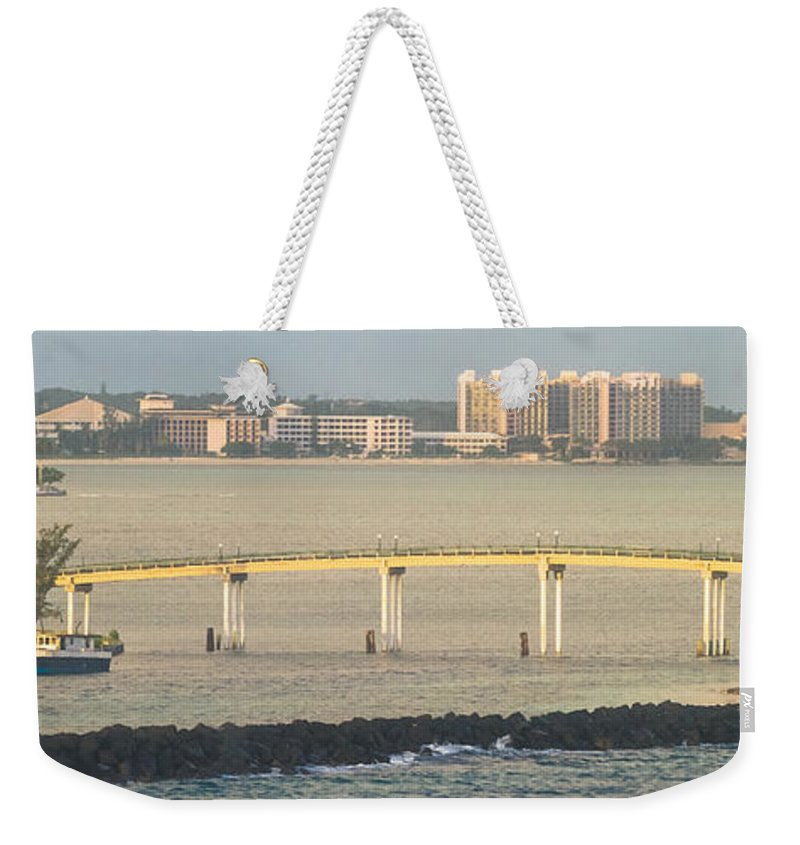 Arawak Cay Weekender Tote Bag featuring the photograph Bridge To Crystal Cay by Ed Gleichman