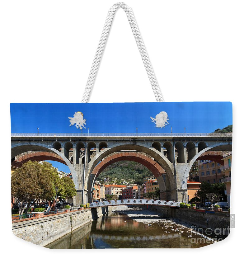 Ancient Weekender Tote Bag featuring the photograph bridges in Sori by Antonio Scarpi