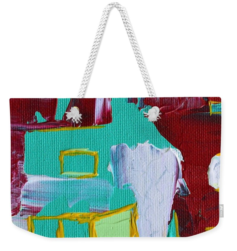 Modern Weekender Tote Bag featuring the painting Bridging The Gaps by Donna Blackhall