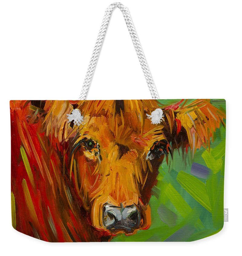 Cow Weekender Tote Bag featuring the painting Bright And Beautiful Cow by Diane Whitehead