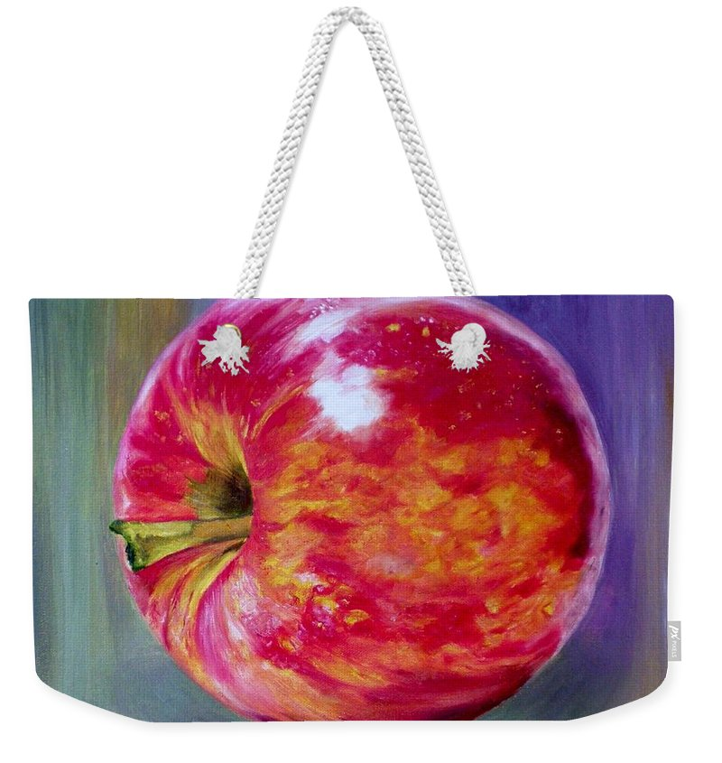 Apple Weekender Tote Bag featuring the painting Bright Apple by Graciela Castro
