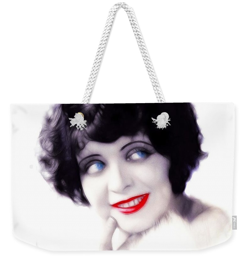 Clara Bow Actress Sexy Erotic Symbol Female Woman Girl Red Lips Bright Eyes Blue Painting Vintage American 20s 30s Hollywood Movie Star Famius Portrait Face Weekender Tote Bag featuring the painting Bright Eyes by Steve K