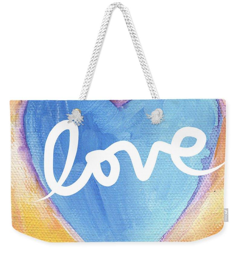 Love Weekender Tote Bag featuring the painting Bright Love by Linda Woods