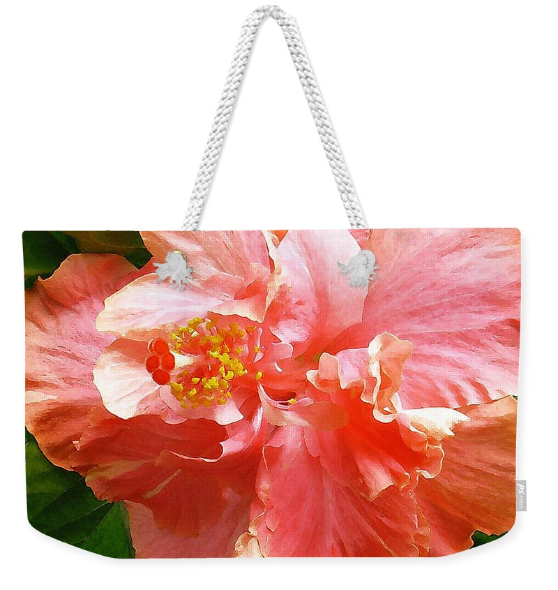 Hibiscus Weekender Tote Bag featuring the digital art Bright Pink Hibiscus by James Temple
