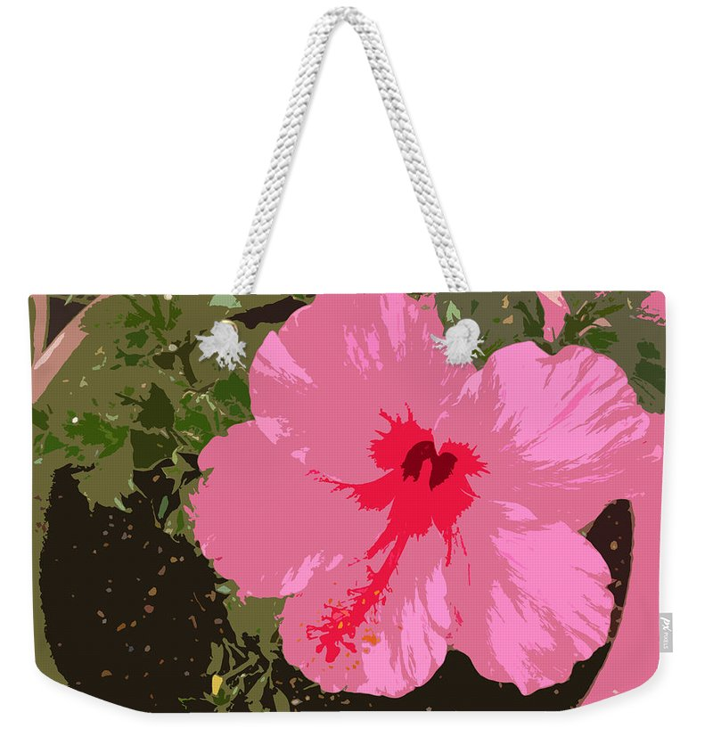Flower Weekender Tote Bag featuring the digital art Bright Pink by Lovina Wright