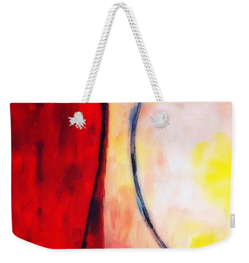 Rustic Weekender Tote Bag featuring the painting Bright Rust by Sarah Jane Thompson