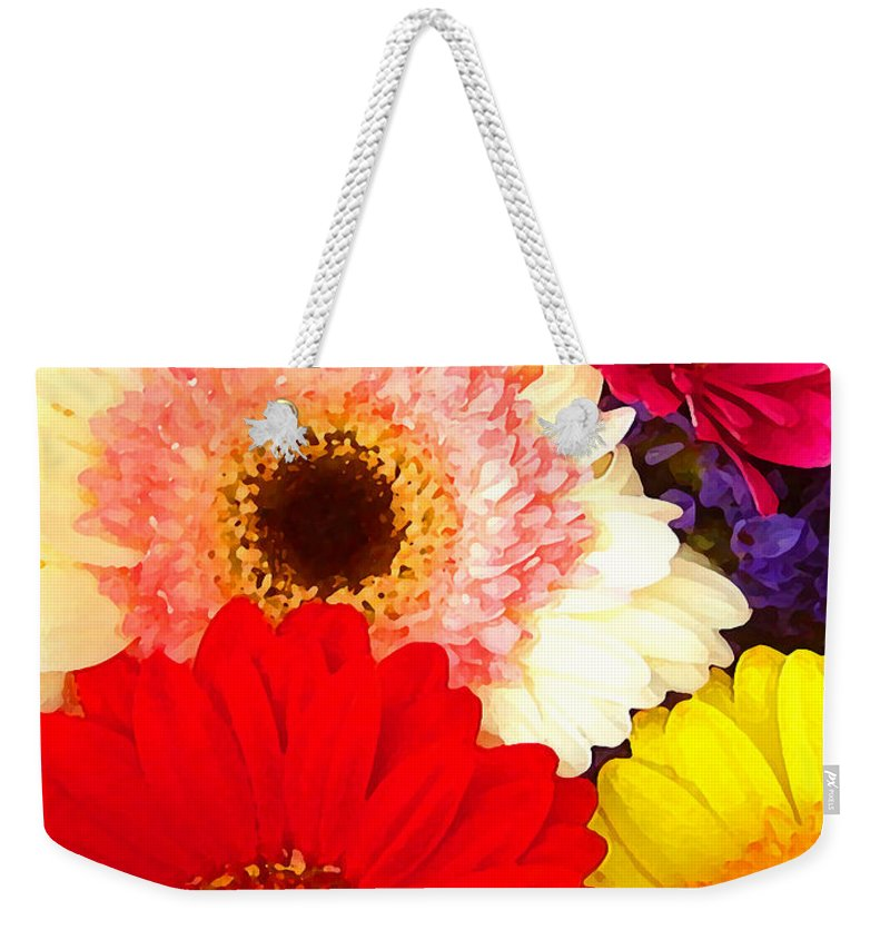 Daisies Weekender Tote Bag featuring the painting Brightly Colored Gerbers by Amy Vangsgard
