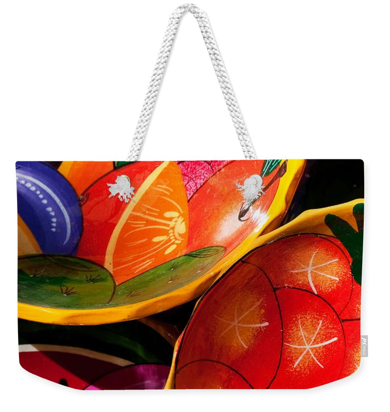 Vertical Weekender Tote Bag featuring the photograph Brightly Painted Bowls At A Market - Mexico - Travel Photography By David Perry Lawrence by David Perry Lawrence