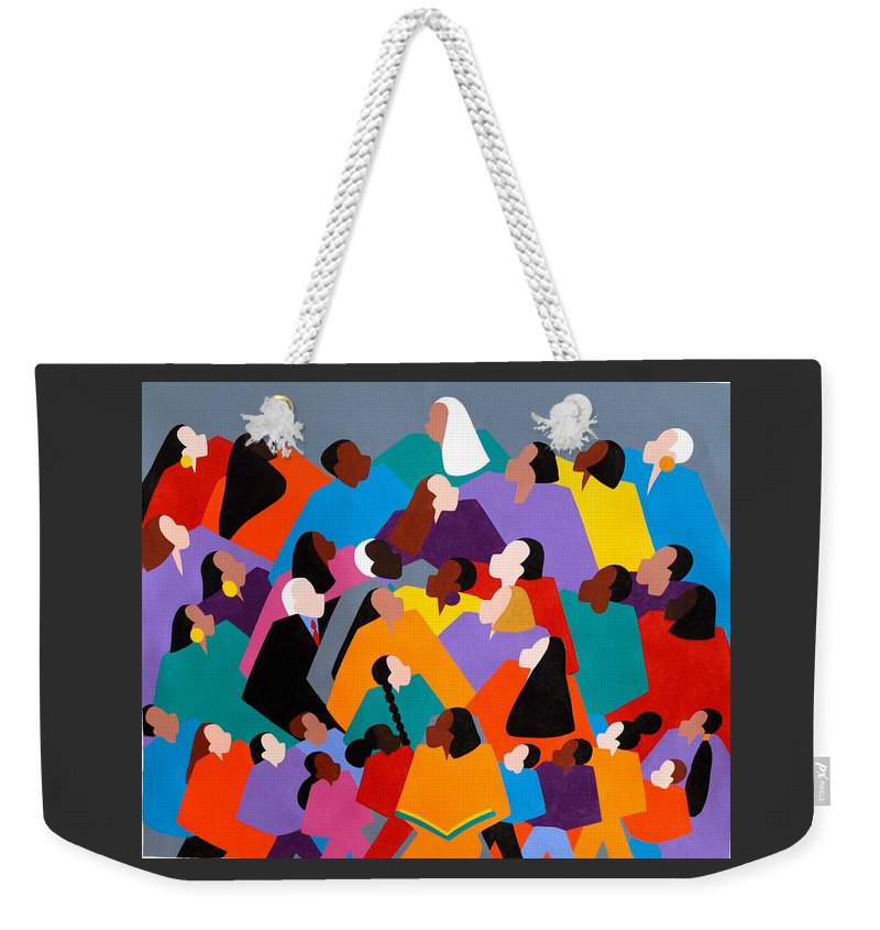 Figurative Weekender Tote Bag featuring the painting Brilliance by Synthia SAINT JAMES