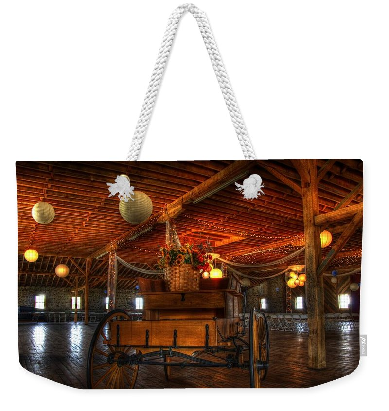 Barn Building Weekender Tote Bag featuring the photograph Bring On The Bride by Jon Berghoff