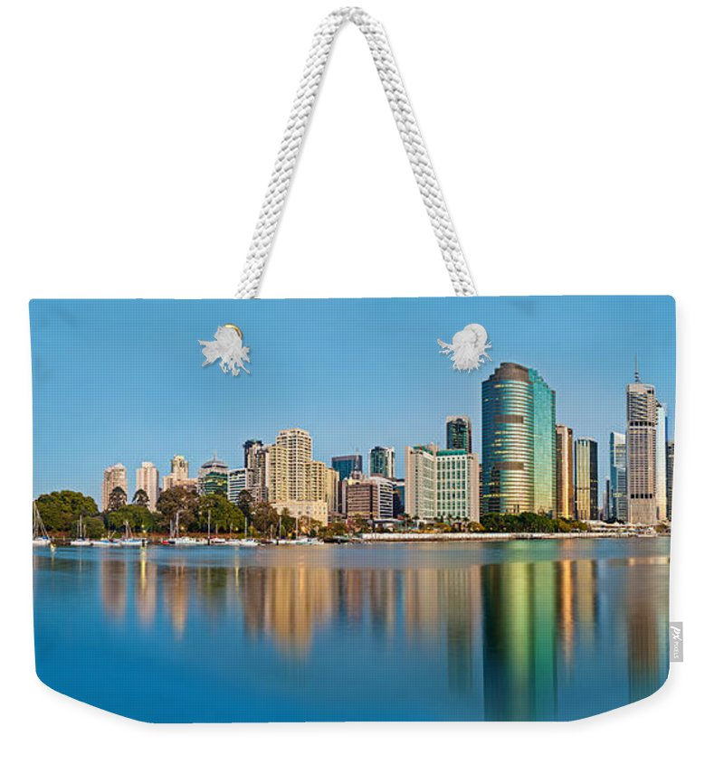 Brisbane Weekender Tote Bag featuring the photograph Brisbane City Reflections by Az Jackson