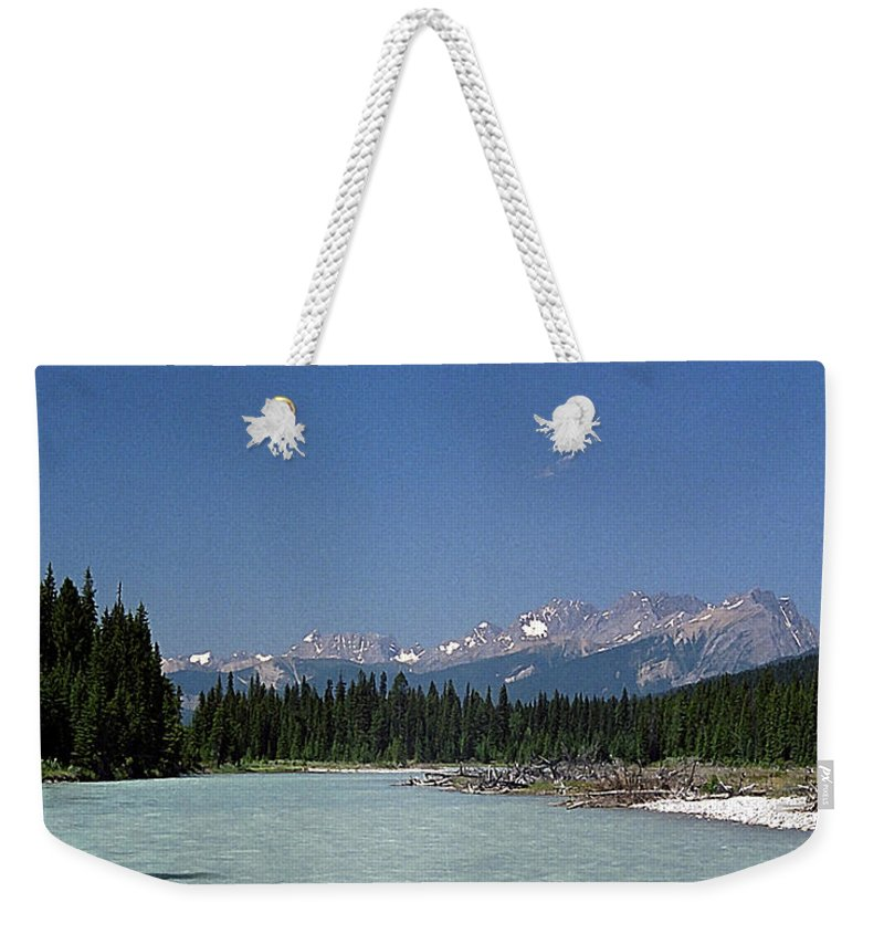 Rocky Mountains Weekender Tote Bag featuring the photograph British Columbia Rockies by Sharon Elliott