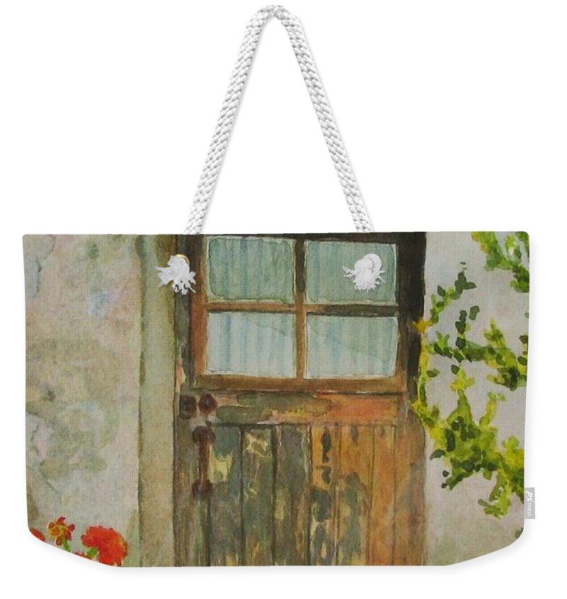 Door Weekender Tote Bag featuring the painting Brittany Door by Mary Ellen Mueller Legault