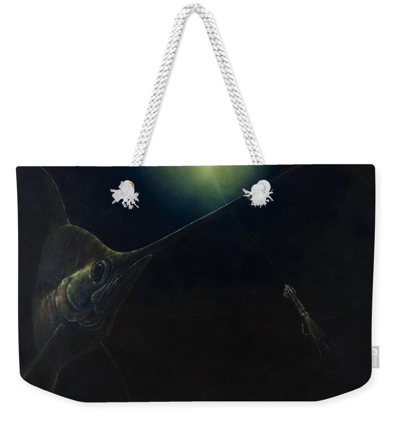 Swordfish Weekender Tote Bag featuring the painting Broadbill Nights by Kevin Brant