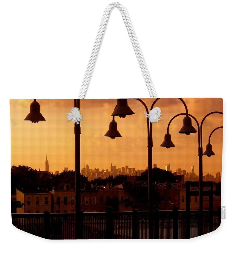 Iphone Cover Cases Weekender Tote Bag featuring the photograph Broadway Junction In Brooklyn, New York by Monique's Fine Art