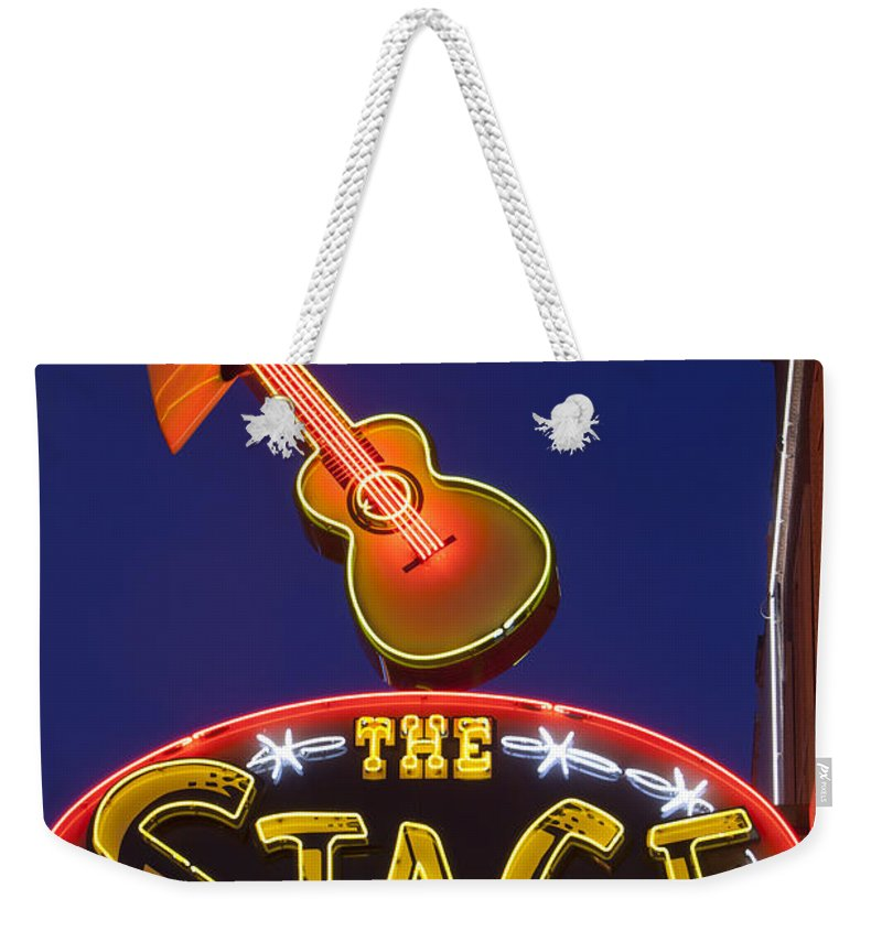 America Weekender Tote Bag featuring the photograph Broadway Neon Sign by Brian Jannsen