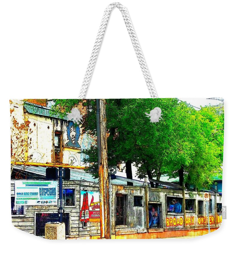 Weekender Tote Bag featuring the photograph Broadway Oyster Bar With A Boost by Kelly Awad