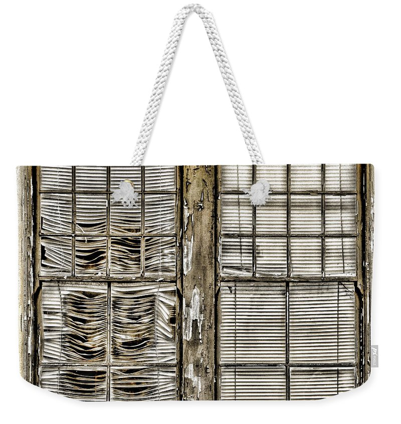 Window Weekender Tote Bag featuring the photograph Broken Blinds At The Train Station By Diana Sainz by Diana Raquel Sainz