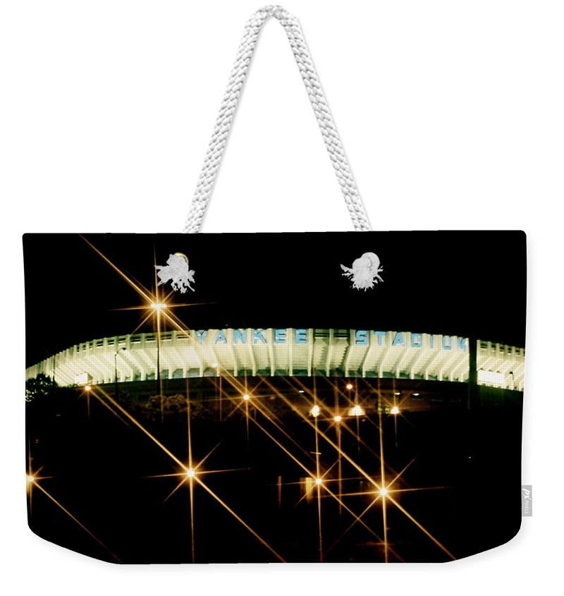 Yankee Stadium Photograph Weekender Tote Bag featuring the photograph Bronx Night Iv Yankee Stadium by Iconic Images Art Gallery David Pucciarelli