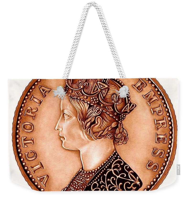 Coin Weekender Tote Bag featuring the drawing Bronze Empress Victoria by Fred Larucci