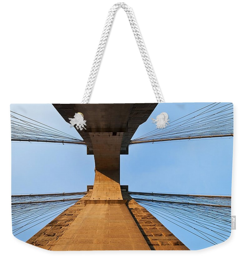 America Weekender Tote Bag featuring the photograph Brooklyn Bridge Abstract by Svetlana Sewell