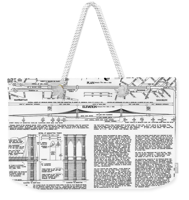 Brooklyn Weekender Tote Bag featuring the photograph Brooklyn Bridge by C H Apperson